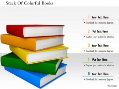 Stock Photo Stack Of Colorful Books PowerPoint Slide