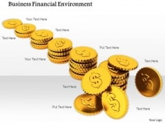 Stock Photo Stacks Of Dollar Coins PowerPoint Slide