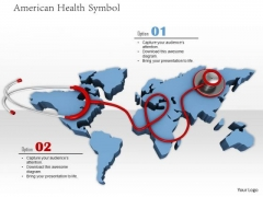 Stock Photo Stethoscope On Map Of Usa PowerPoint Slide