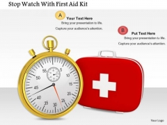 Stock Photo Stop Watch With First Aid Kit PowerPoint Slide