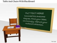 Stock Photo Table And Chairs With Blackboard PowerPoint Slide