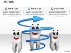 Stock Photo Three 3d Healthy Teeth Smiling PowerPoint Slide