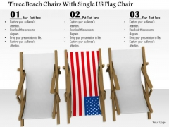 Stock Photo Three Beach Chairs With Single Us Flag Chair PowerPoint Slide