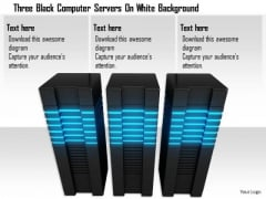 Stock Photo Three Black Computer Servers On White Background PowerPoint Slide