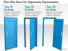 Stock Photo Three Blue Doors For Opportunity Representation PowerPoint Slide
