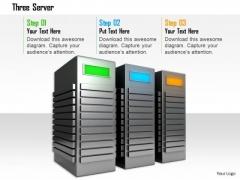Stock Photo Three Computer Servers In Workstation PowerPoint Slide