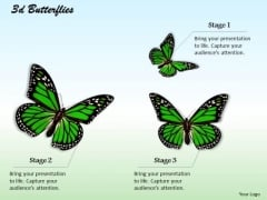 Stock Photo Three Green Butterflies PowerPoint Slide