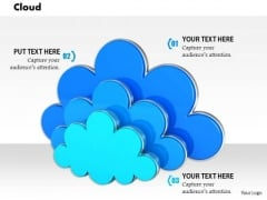 Stock Photo Three Icons Of Clouds For Cloud Computing PowerPoint Slide