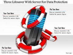 Stock Photo Three Lifesaver With Server For Data Protection PowerPoint Slide