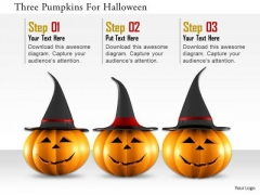 Stock Photo Three Pumpkins For Holloween Image Graphics For PowerPoint Slide