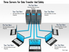 Stock Photo Three Servers For Data Transfer And Safety Image Graphics For PowerPoint Slide
