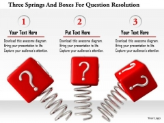 Stock Photo Three Springs And Boxes For Question Resolution Image Graphics For PowerPoint Slide