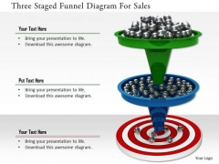Stock Photo Three Staged Funnel Diagram For Sales PowerPoint Slide