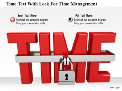 Stock Photo Time Text With Lock For Time Management PowerPoint Slide