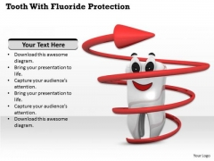 Stock Photo Tooth With Fluoride Protection Pwerpoint Slide