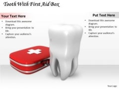 Stock Photo Tooth With Red First Aid Box Pwerpoint Slide