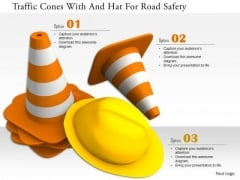 Stock Photo Traffic Cones With And Hat For Road Safety PowerPoint Slide