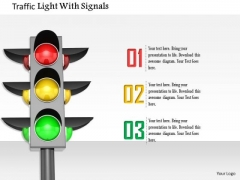 Stock Photo Traffic Light With Signals PowerPoint Slide