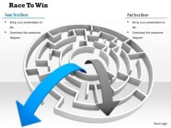 Stock Photo Two Arrows Coming Out Of Maze PowerPoint Slide