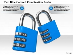 Stock Photo Two Blue Colored Combination Locks PowerPoint Slide