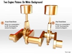 Stock Photo Two Engine Pistons On White Background PowerPoint Slide