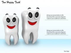 Stock Photo Two Happy Teeth Standing Together Pwerpoint Slide
