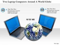 Stock Photo Two Laptop Computers Around Globe Pwerpoint Slide