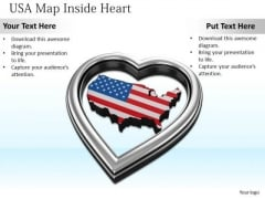 Stock Photo Usa Map Inside Silver Heart PowerPoint Slide