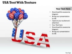Stock Photo Usa Text With Flag Designed Balloons PowerPoint Slide