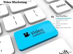 Stock Photo Video Marketing Text On Blue Key PowerPoint Slide
