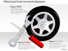 Stock Photo Wheel And Tools For Car Service PowerPoint Slide