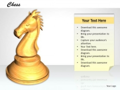 Stock Photo White Chess Horse For Game PowerPoint Slide