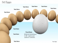 Stock Photo White Egg In Middle With Brown Eggs PowerPoint Slide