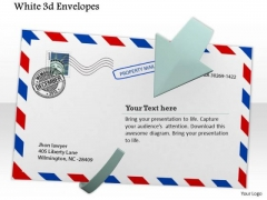 Stock Photo White Envelope With Postal Stamps PowerPoint Slide