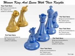 Stock Photo Winning Blue Team Of Chess Game PowerPoint Slide