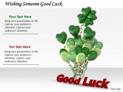 Stock Photo Wishing Someone Good Luck PowerPoint Template