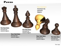 Stock Photo Wooden Chess Pawns PowerPoint Slide
