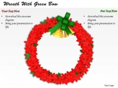 Stock Photo Wreath Of Red Flowers With Golden Bells PowerPoint Slide