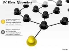 Stock Photo Yellow Ball Leading Black Balls In Network PowerPoint Slide