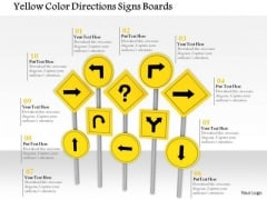 Stock Photo Yellow Color Directions Signs Boards PowerPoint Slide