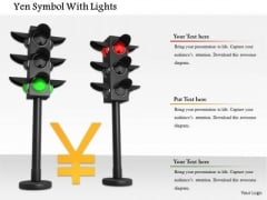 Stock Photo Yen Currency Symbol In Traffic Lights PowerPoint Slide