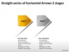 Straight Series Of Horizontal Arrows 2 Stages Making Flow Charts PowerPoint Slides