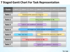 Strategy PowerPoint Template 7 Staged Gantt Chart For Task Representation Ppt Slides