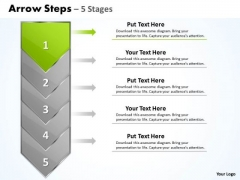 Strategy PowerPoint Template Arrow 5 Stages 1 Business Communication Design