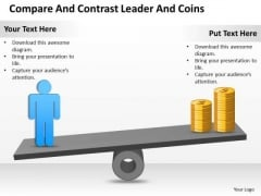 Strategy PowerPoint Template Compare And Contrast Leader Coins Ppt Slides