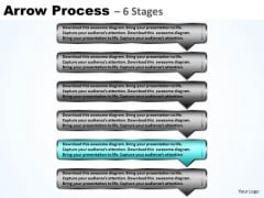 Strategy PowerPoint Template Continuous Process Using 6 Rectangular Arrows Design