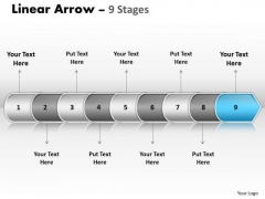 Strategy PowerPoint Template Linear Arrow 9 Stages Time Management Business Design