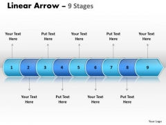 Strategy PowerPoint Template Linear Arrow 9 Stages Time Management Design