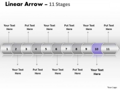 Strategy Ppt Background Linear Arrow 11 Stages Business PowerPoint Design