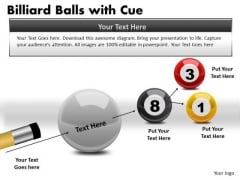 Stripe Billiard Balls With Cue PowerPoint Slides And Ppt Diagram Templates